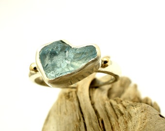 sterling silver raw aquamarine ring rough aquamarine silver and gold band ring light blue crystal gemstone unique jewelry, march birthstone