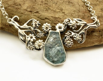 Sterling silver raw aquamarine necklace floral gold and silver necklace flower branches romantic botanical jewelry, March birthstone