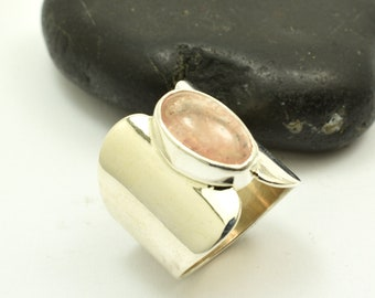 Morganite ring sterling silver pink beryl oval morganite  sterling silver ring polished wide band statement ring size 7 gift for her