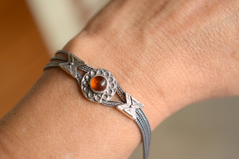 gift for her Amber sterling silver bracelet silver bangle byzantine multi strand wheat chain bracelet fox tail amber jewelry