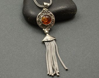 Sterling silver tassel necklace amber pendant Etruscan Byzantine Style, handmade amber stone long necklace, statement jewelry
