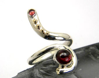 Long silver ring garnet two stones adjustable silver and gold ring size 5, 7.5 yellow gold and silver ring spiral, January birthstone gift