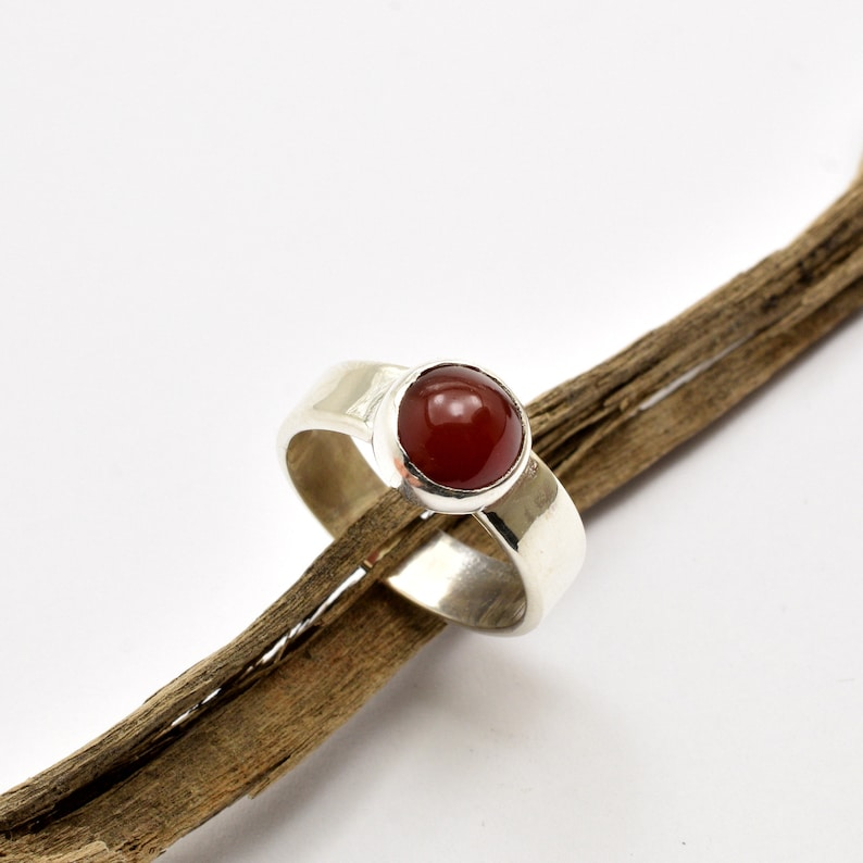 carnelian jewelry red agate gemstone minimalist ring size 8 or 6.5 Carnelian ring in sterling silver simple stone ring mother/'s gift