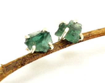 sterling silver apatite earrings raw apatite stone studs, uncut teal color earrings, green blue gemstone stud, apatite jewelry, gift for her