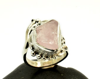 Raw morganite ring sterling silver  light pink rough morganite natural gemstone free form ring size 7 1/2 morganite jewelry artisan ring