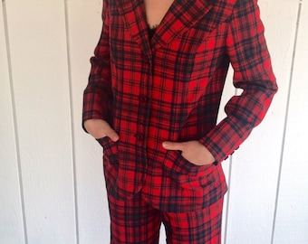 Vintage Red/Green/Blue Plaid Women's Pendleton Pant Suit