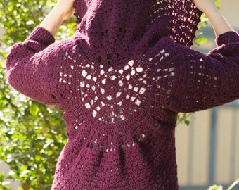 Pattern PDF for Crochet Circle Bolero, Cardigan, Shrug, Sweater with Dolman Sleeves, Intermediate Skill