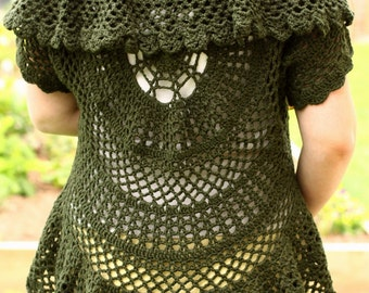 Pattern PDF for Crochet Circle Sweater, Lace Cardigan, Intermediate Skill