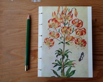 Small Journal/ Botanical Illustration/ Tiger Lily Floral Notebook