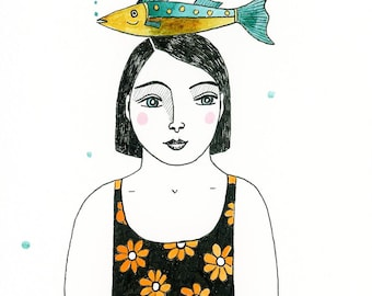 """Mini original watercolour of woman and fish, Mini painting 6"""" x 4"""", Woman swimming with fish, Swimmer portrait, Ink and watercolour woman"""