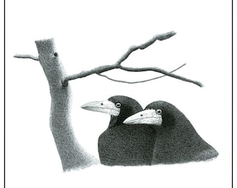 Art Illustration 10 x 8 Print Pen And Ink Drawing Two Rooks Detailed Art Black And White Monochrome Bird Art Ink Art