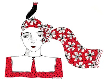 Original ink illustration of girl in red, Red dress original art, Original drawing of woman and bird, Pen and ink art of lady in red dress