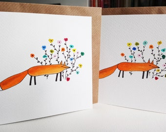 Original handpainted greetings cards, Two watercolour fox cards, Foxes with flowers, Hand painted watercolour art cards, Fox greetings cards