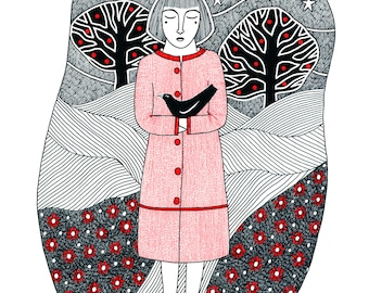 A4 print of woman holding black bird, Oscar Wilde quote, Pen and ink drawing of woman in landscape, Woman and bird illustration, Portrait
