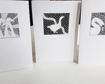Three handmade greeting cards, Handmade cards from original ink drawings, Blank art cards, Swan, duck and goose greeting cards, Nature cards
