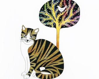 Cat, bird and tree illustration, Cat drawing art print 10 x 8, Ink and watercolor illustration, Folk art cat and bird, Multicolor tree art