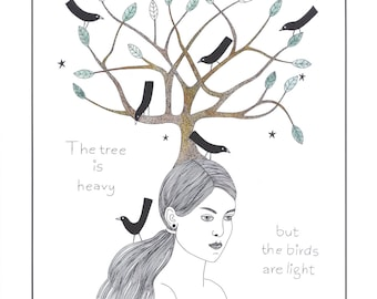 Art illustration print woman with birds, Drawing woman with tree, Ink art tree and black birds, Print of original artwork, Graphic drawing