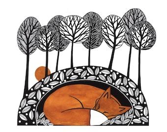 Fox illustration nature print, Pen and ink art, Fox illustration art, Graphic fox art, Fox print from my original painting, Sleeping fox 7x5