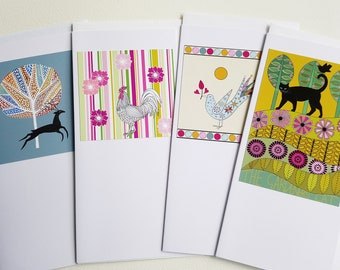 Four handmade greetings cards, Illustrated cards from original artwork, Blank art cards, Animal and bird handmade greeting cards, Nature art