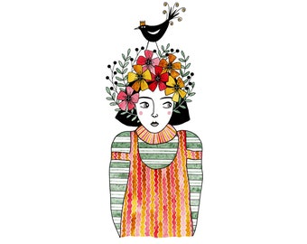 Art print of girl with flowers and bird on head, Watercolour print of girl and black bird, Bird and flower drawing, Folk art girl with bird
