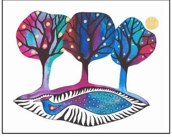 10 x 8 print, Fantasy bird art, Bird and trees, Watercolor painting of bird, Modern wall art, Graphic art, Nature art, Bird print, Mythic