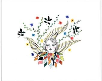 Art illustration print, Woman with flowers drawing, Floral art, Multicolored illustration flowers, Modern wall art, Graphic art, Nursery art