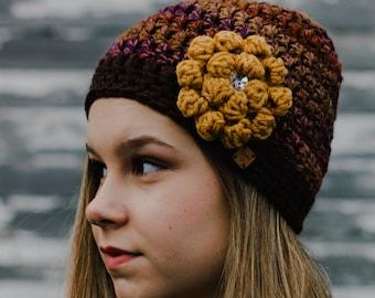 Gift for Women Friends - Luxurious Brown Hand Crochet Hat for Women