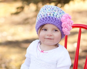 Unique Baby Gift Ideas - Hand Crocheted Purple Baby Winter Hat or Photo Prop - Baby Shower Gift