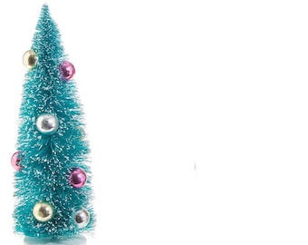 raz imports christmas decor 9 inch beaded bottle brush sisal dyed tree blue - Raz Christmas Decorations