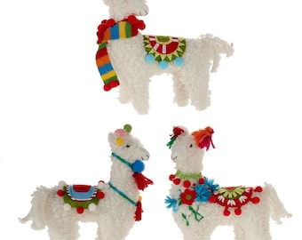 raz imports christmas decor plush llama ornament 3pc set