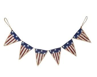 Darice Patriotic 4th of July Decor - American Flag Burlap Pennant Garland