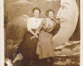 Wishing on a Paper Moon- Best Friends- Edwardian Portrait- 1910s Vintage Photograph- RPPC
