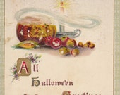All Hallowe'en Greetings- Black Cat- Jack-o-lantern- Pumpkins- Owl on Crescent Moon- Classic Halloween- 1910s Vintage Postcard- Used