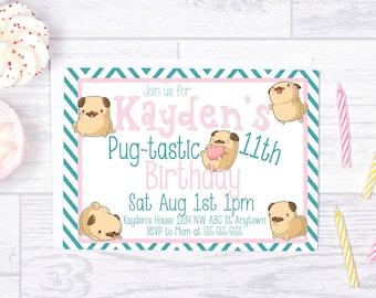 Pug Birthday, Printable Pug Birthday invitation, Pug Party invite, Pug Puppy, Cute Pugs, Pug Birthday invite, Personalized