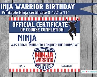 Ninja Warrior Birthday, Parkour Party, Printable Ninja certificate, course completion, ninja award, party favor, Ninja warrior, Personalized