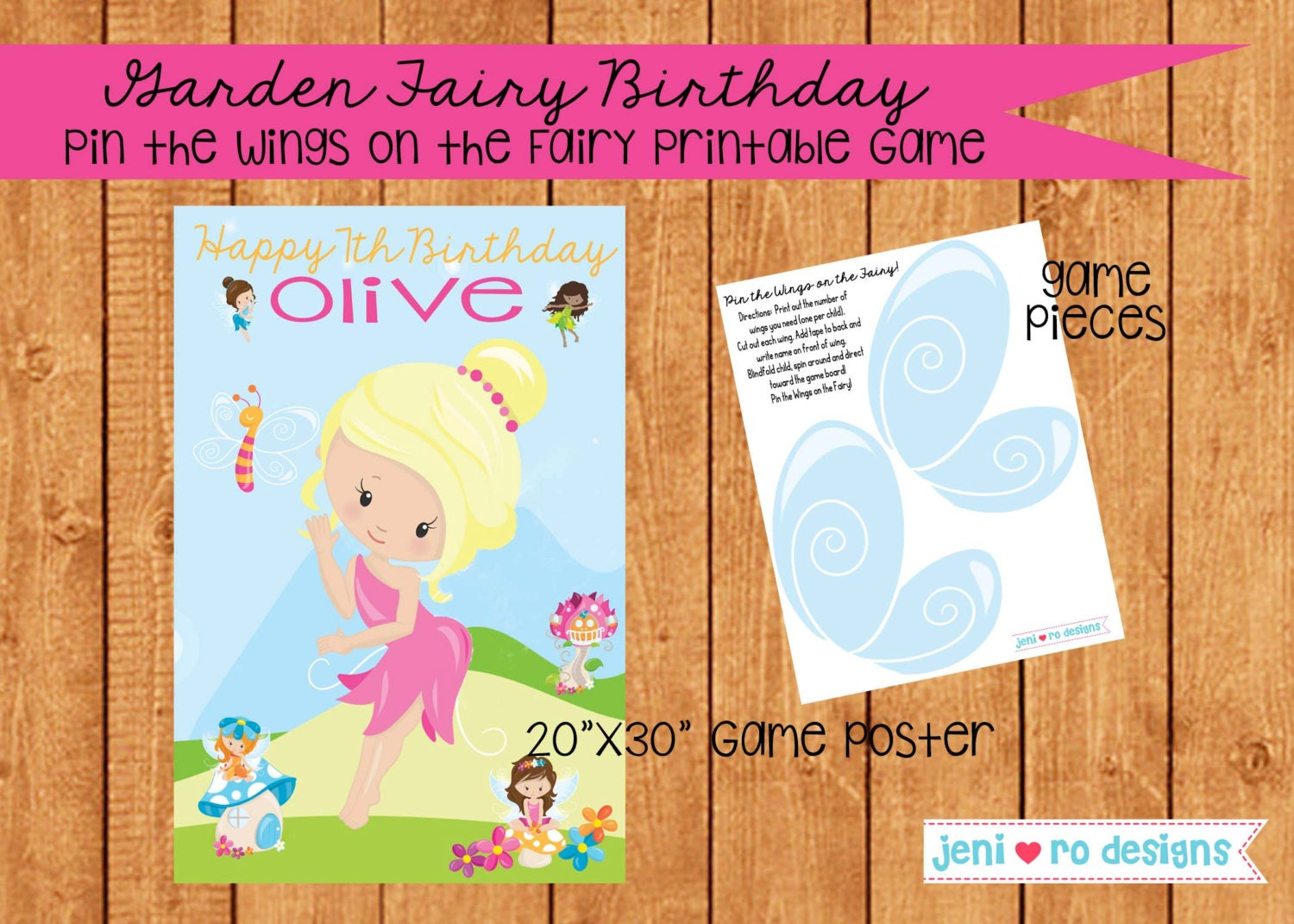 Pin The Wing On The Fairy Printable Birthday Game Etsy