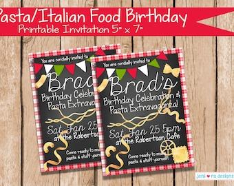 Pasta Italian Food Birthday, Printable Invite, Birthday invitation, Homemade Pasta, Pasta Party, Italian Food, Italy, Italian, Personalized