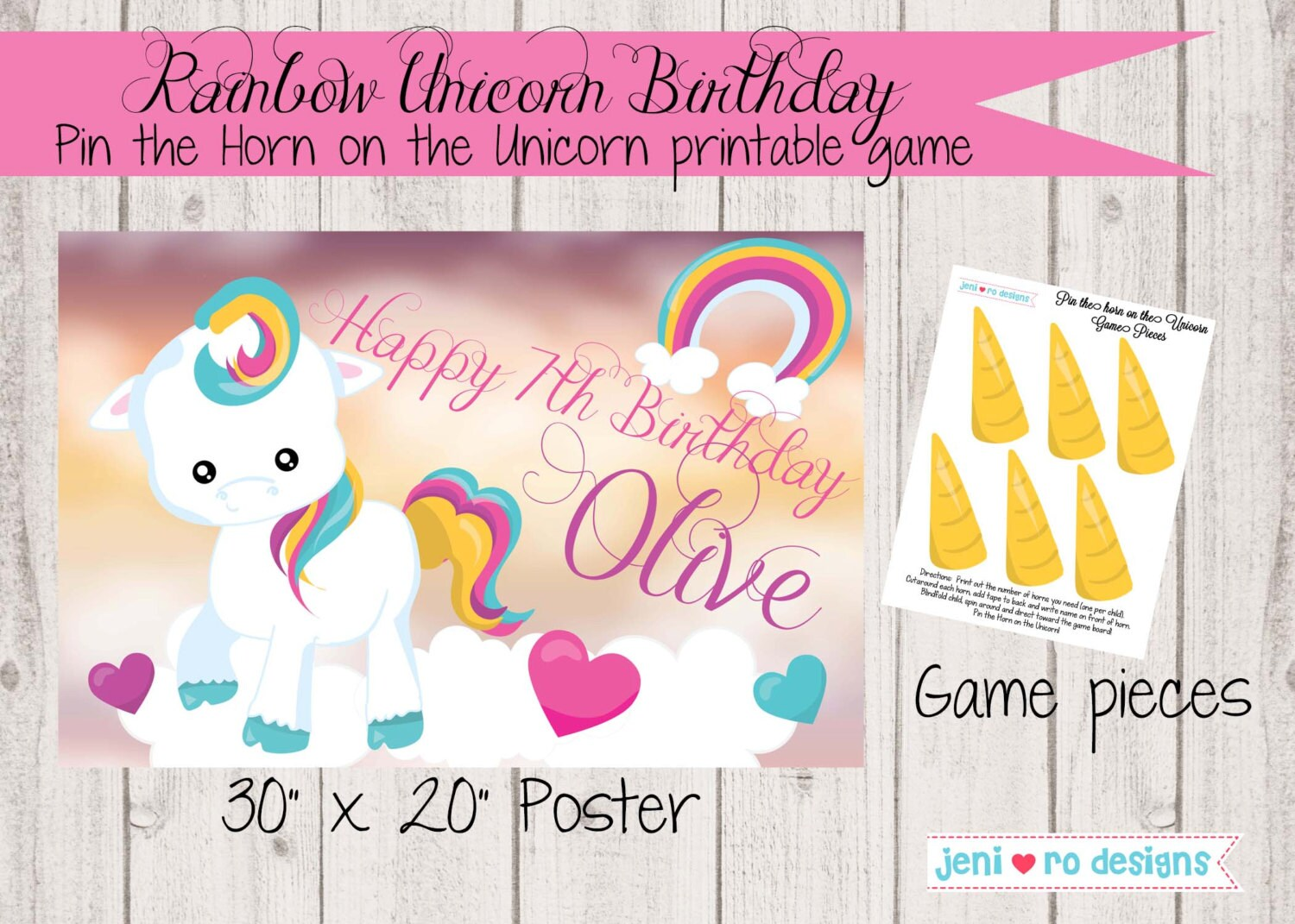 Pin The Horn On Unicorn Printable Birthday Game