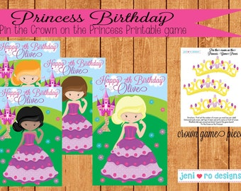 Party Game, Pin the Crown on the Princess, Princess Birthday, Princesses, Printable Game, Birthday activity, Royal Birthday, Personalized