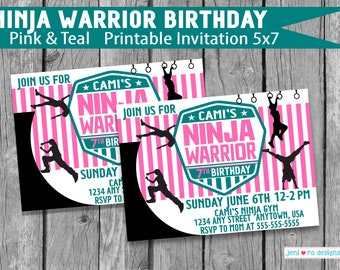 Ninja Warrior Printable Birthday Invitation, Pink and teal, Girl Parkour Party, Birthday invite, Girl warrior, Ninja girl, Personalized