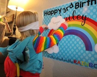 Party Game, Rainbow Birthday, Pin the Cloud on the Rainbow, Printable Game, Birthday activity, Rainbows, Clouds, Personalized