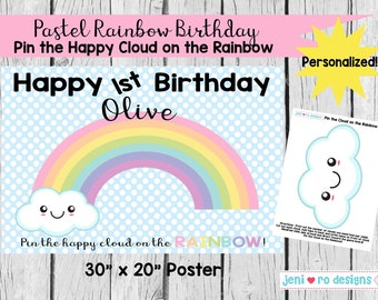 Party Game, Pin the Happy Cloud on the Rainbow, Printable Game, Pastel Rainbow birthday, Chuva de amor, Rainbows, Personalized