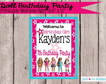 Doll Birthday - Printable Welcome sign - Personalized!