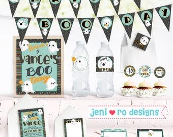 Halloween Birthday, Printable Decor Set, Happy Boo Day, Ghosts, Boo, teal, blue, Halloween birthday, Birthday decorations, Personalized