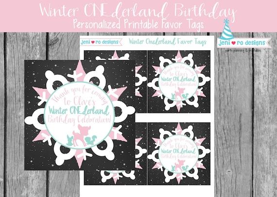 Winter ONEderland Favor Tag Winter ONEderland Favor Tag Printable 2.5 inch Favor Tags INSTANT DOWNLOAD Printable Winter Wonderland Tag