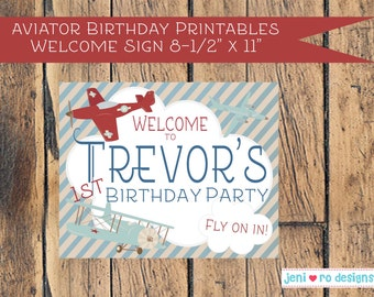 Aviator Birthday Printable Welcome Sign - Personalized