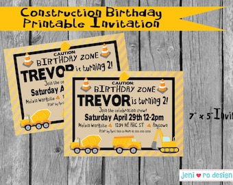 Construction Birthday Party printable invitation - customization included!