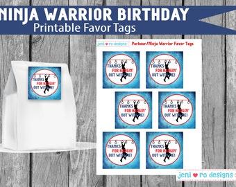 Ninja Warrior Birthday, Parkour Party, Printable Favor Tags, Favors, Favor labels, Ninja, Parkour, Free Running, Instant Download