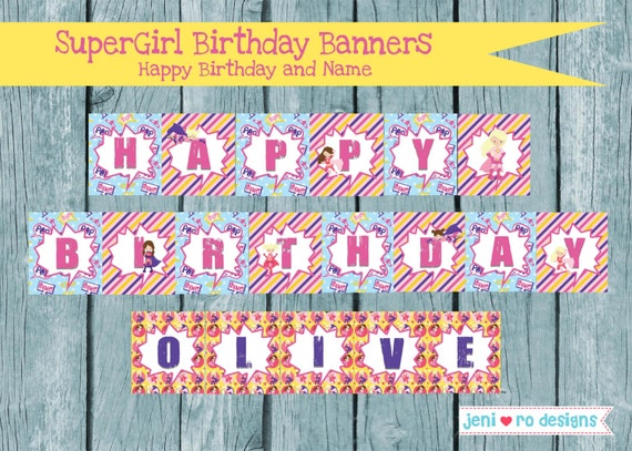 SuperGirl Birthday Printable Banners