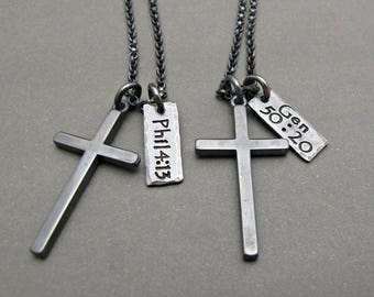 Mens cross necklace etsy mens cross necklace mens cross jewelry cross pendant gifts for him gift for men custom necklace fathers day gift cross charm aloadofball Choice Image